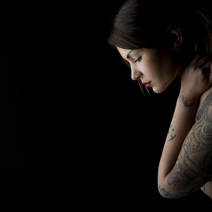 Inked girl with tattoo